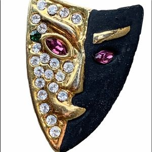 VINTAGE MASQUERADE MASK JEWEL ENCRUSTED PIN BROOCH